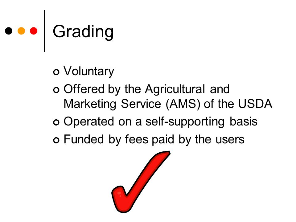 Grading Voluntary. Offered by the Agricultural and Marketing Service (AMS) of the USDA. Operated on a self-supporting basis.