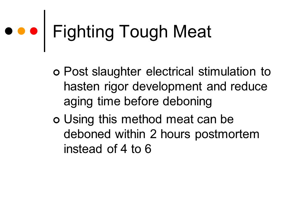Fighting Tough Meat Post slaughter electrical stimulation to hasten rigor development and reduce aging time before deboning.