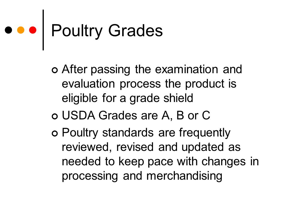 Poultry Grades After passing the examination and evaluation process the product is eligible for a grade shield.