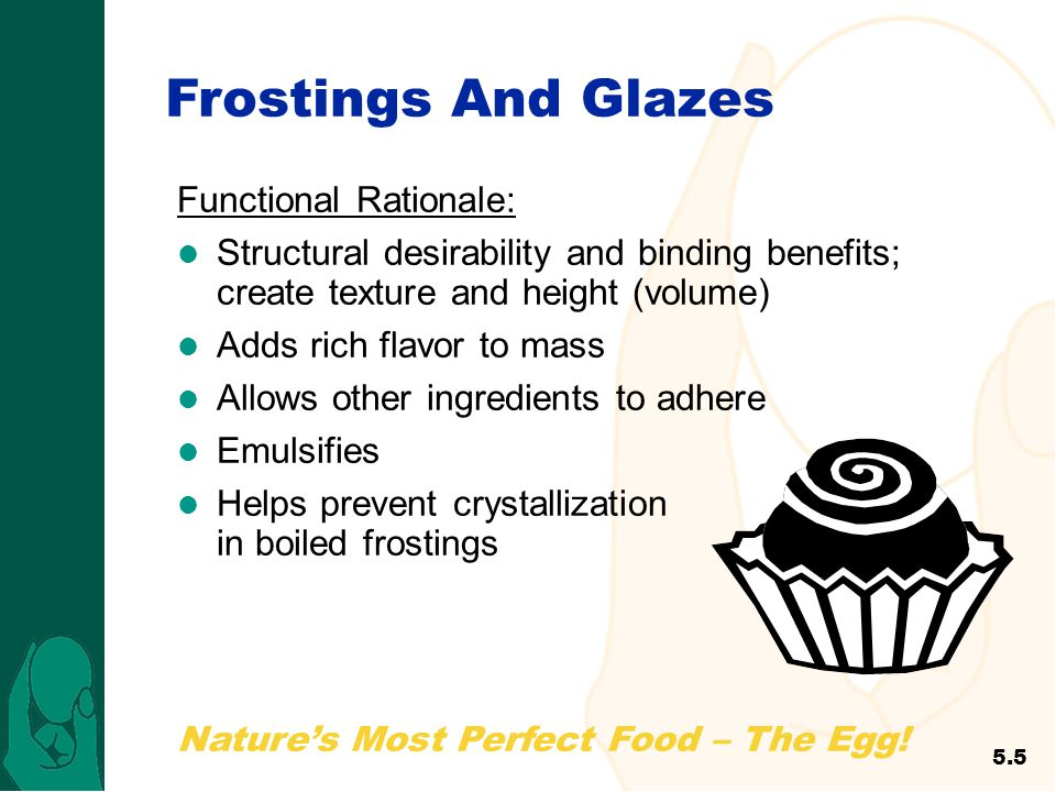 Frostings And Glazes Functional Rationale: