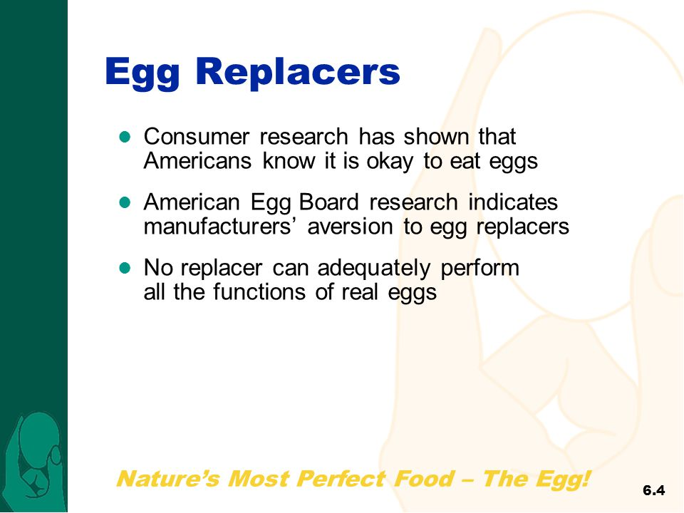 Egg Replacers Consumer research has shown that Americans know it is okay to eat eggs.