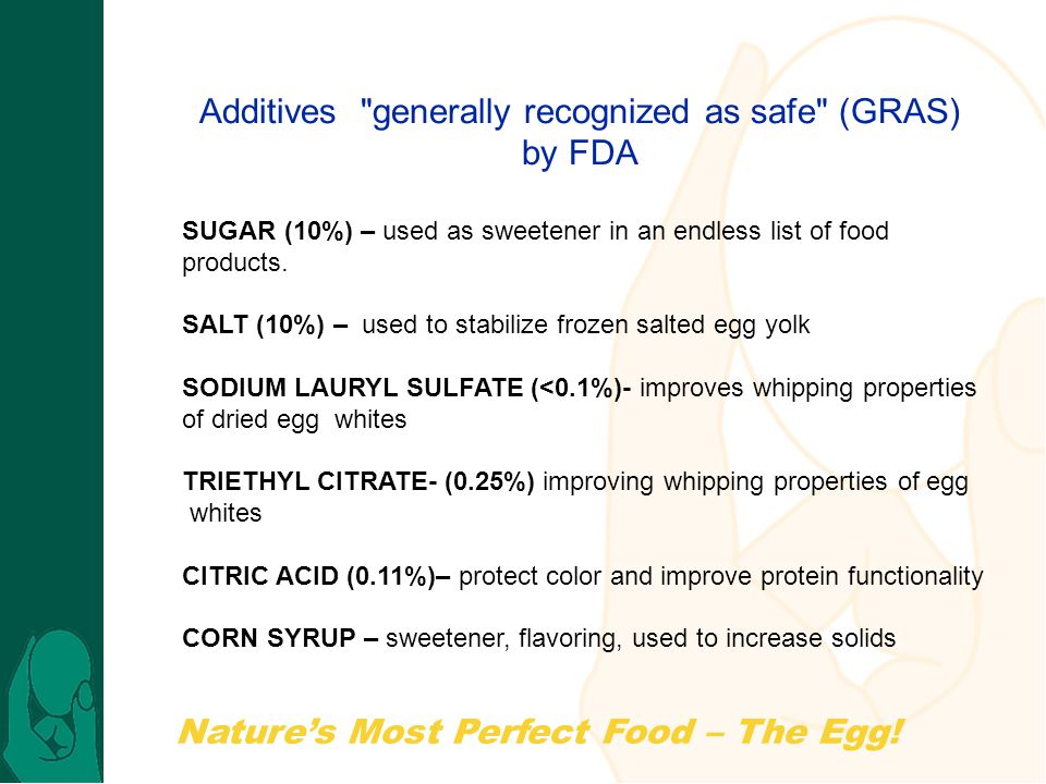 Additives generally recognized as safe (GRAS)