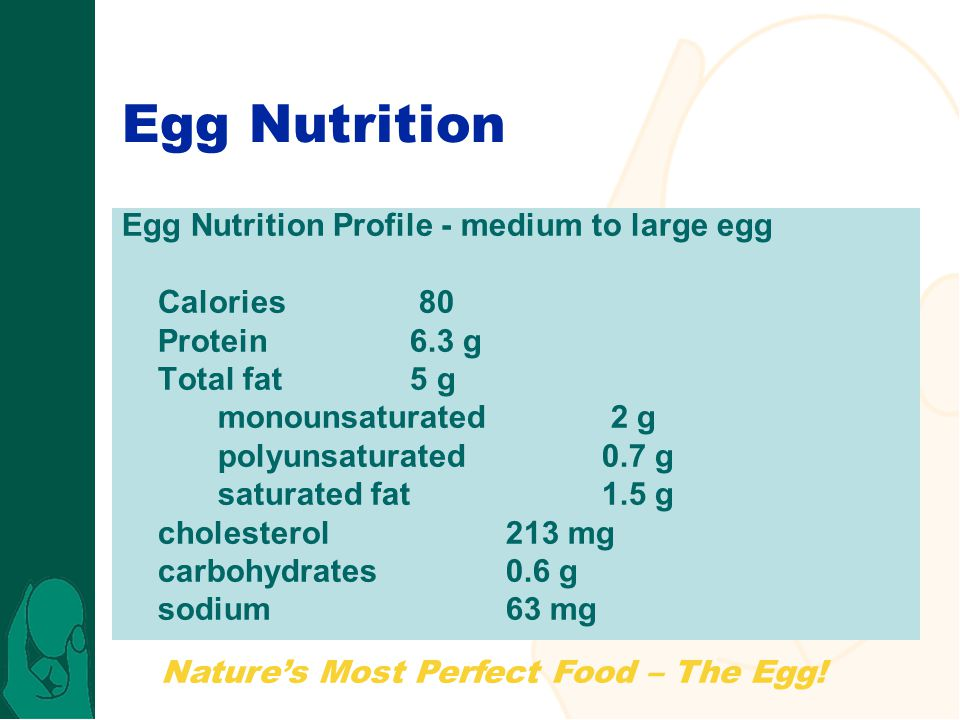 Egg Nutrition Egg Nutrition Profile - medium to large egg Calories 80