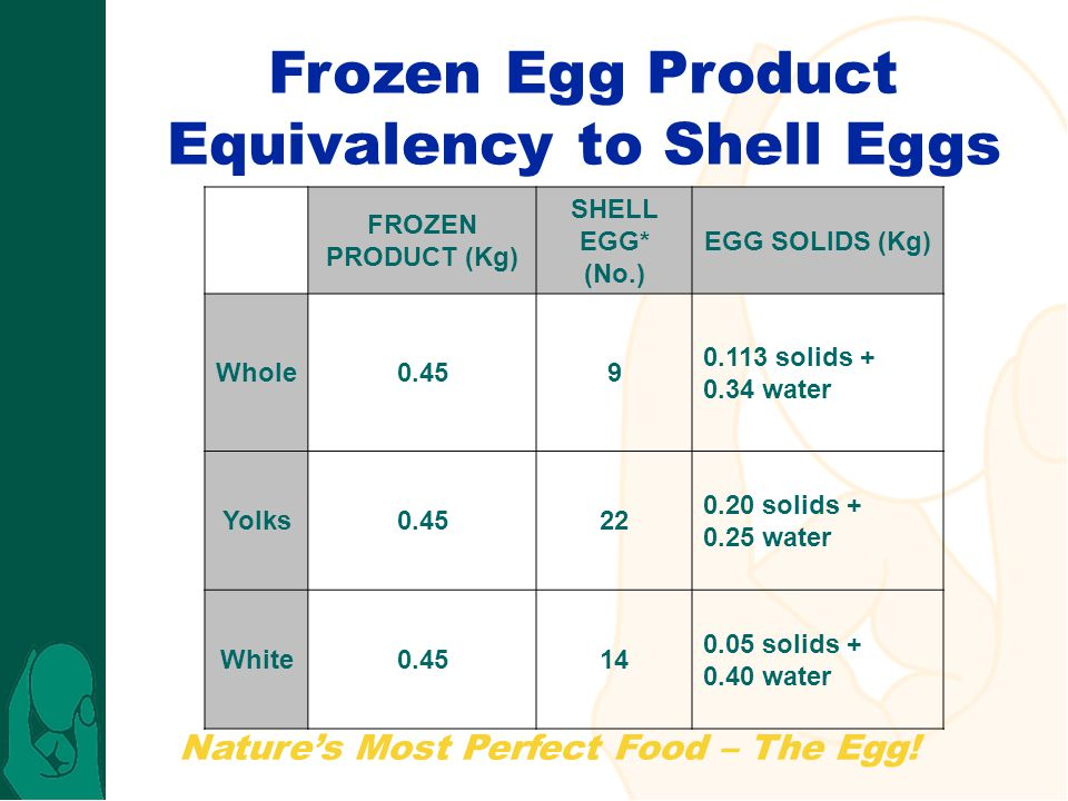 Frozen Egg Product Equivalency to Shell Eggs
