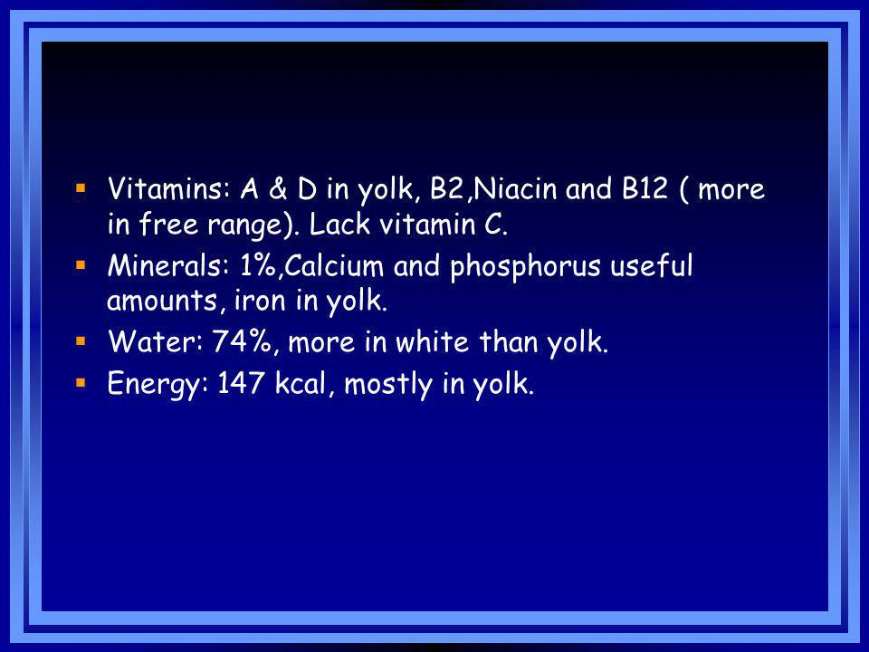 Vitamins: A & D in yolk, B2,Niacin and B12 ( more in free range)