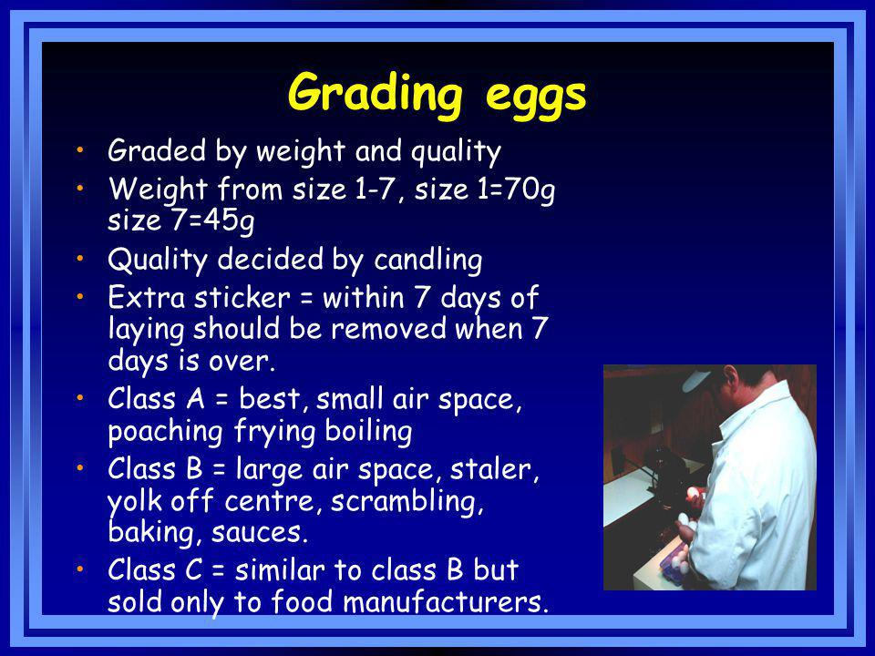 Grading eggs Graded by weight and quality