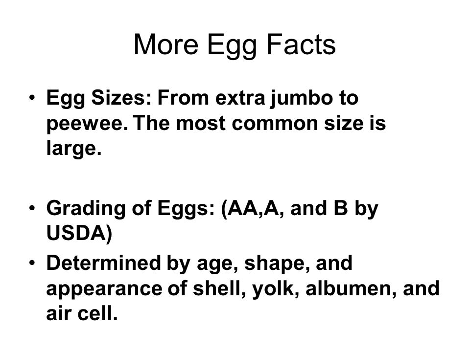 More Egg Facts Egg Sizes: From extra jumbo to peewee. The most common size is large. Grading of Eggs: (AA,A, and B by USDA)