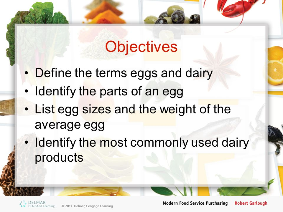 Objectives Define the terms eggs and dairy