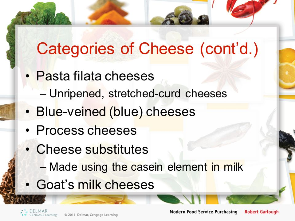 Categories of Cheese (cont'd.)