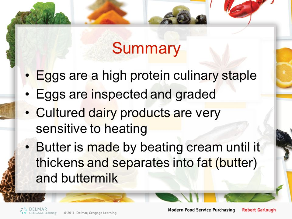 Summary Eggs are a high protein culinary staple