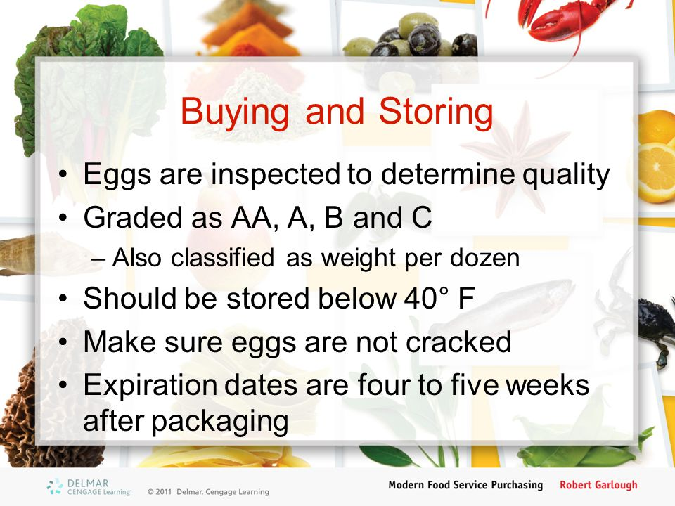 Buying and Storing Eggs are inspected to determine quality