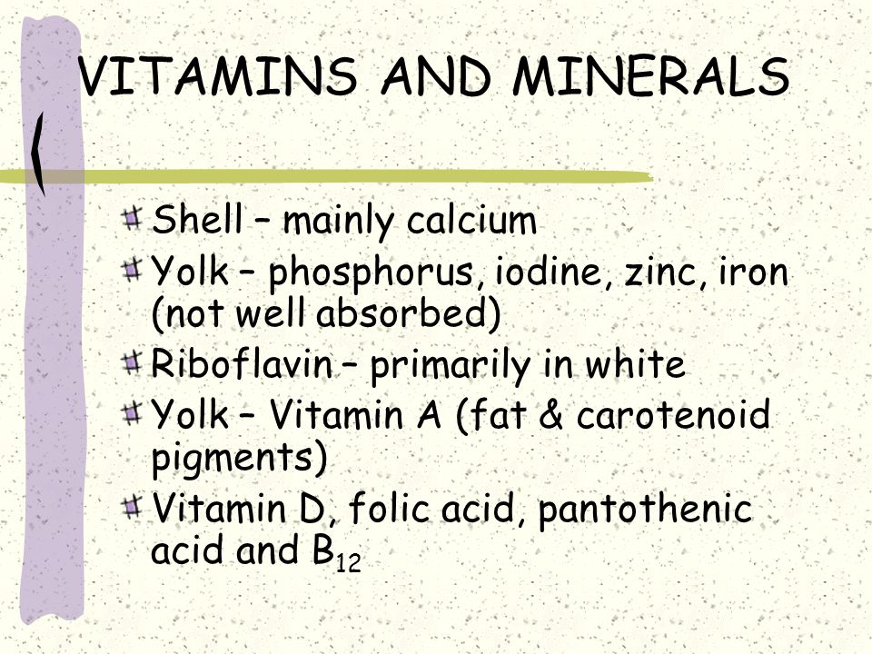 VITAMINS AND MINERALS Shell – mainly calcium