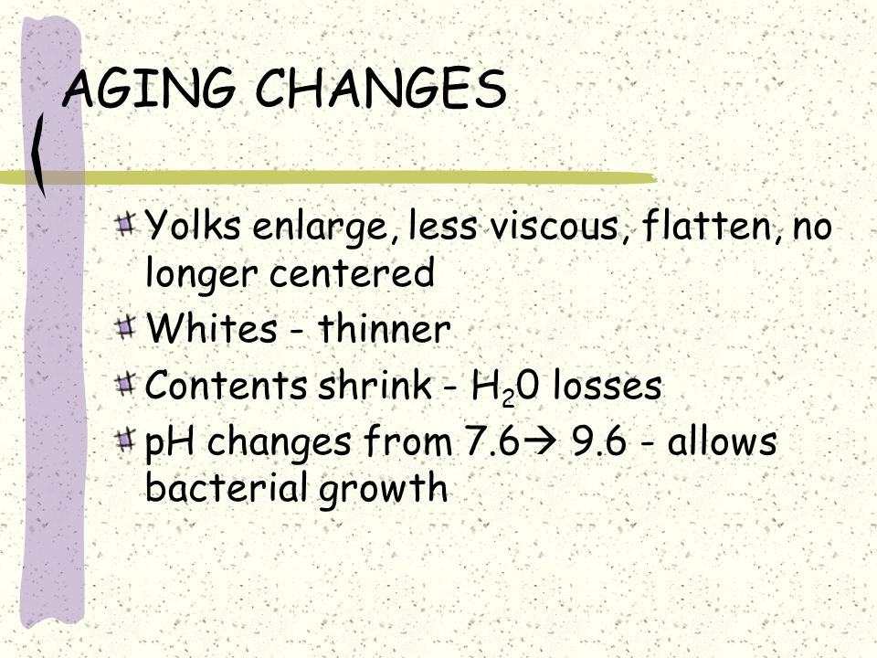 AGING CHANGES Yolks enlarge, less viscous, flatten, no longer centered