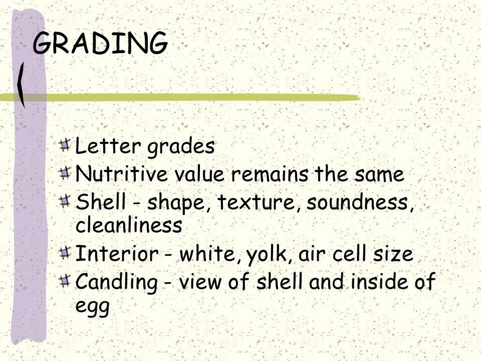 GRADING Letter grades Nutritive value remains the same
