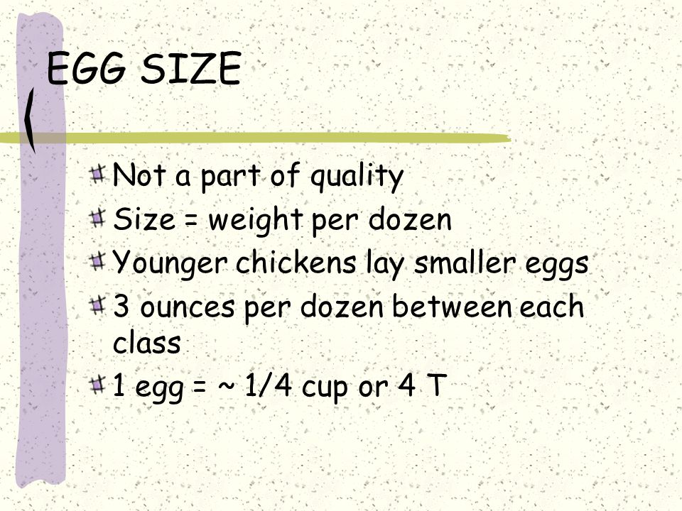 EGG SIZE Not a part of quality Size = weight per dozen
