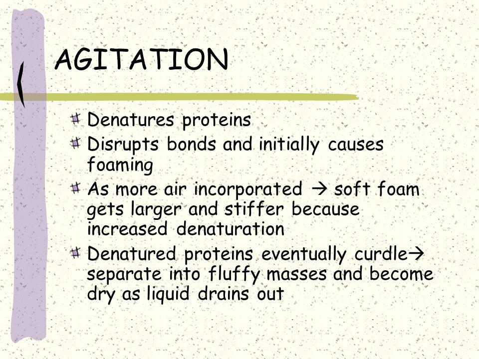 AGITATION Denatures proteins