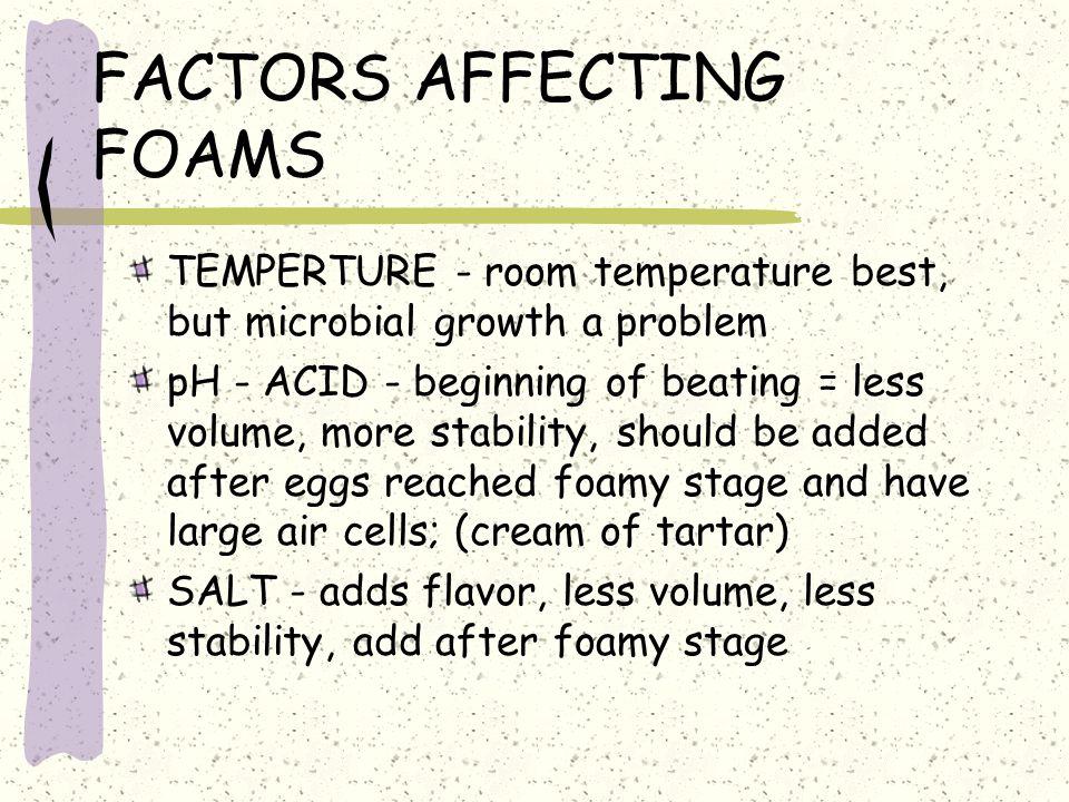 FACTORS AFFECTING FOAMS