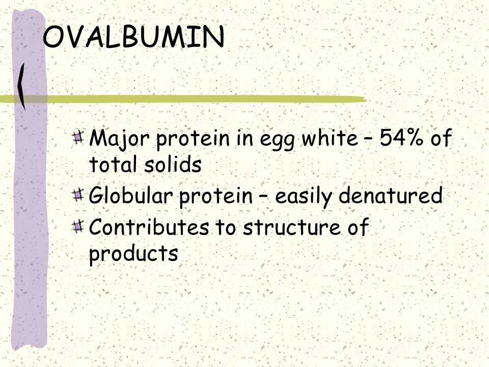 OVALBUMIN Major protein in egg white – 54% of total solids