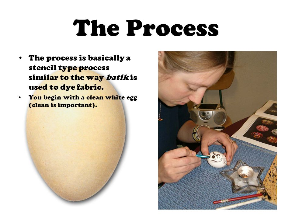 The Process The process is basically a stencil type process similar to the way batik is used to dye fabric.