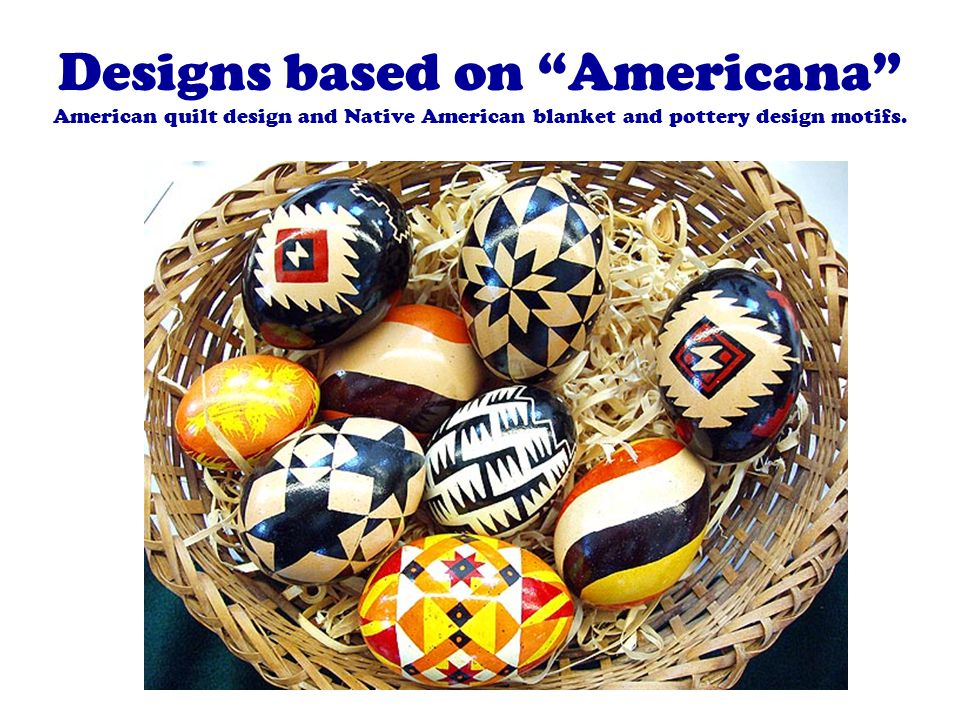 Designs based on Americana American quilt design and Native American blanket and pottery design motifs.
