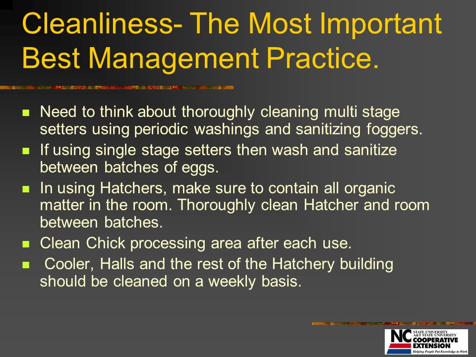 Cleanliness- The Most Important Best Management Practice.