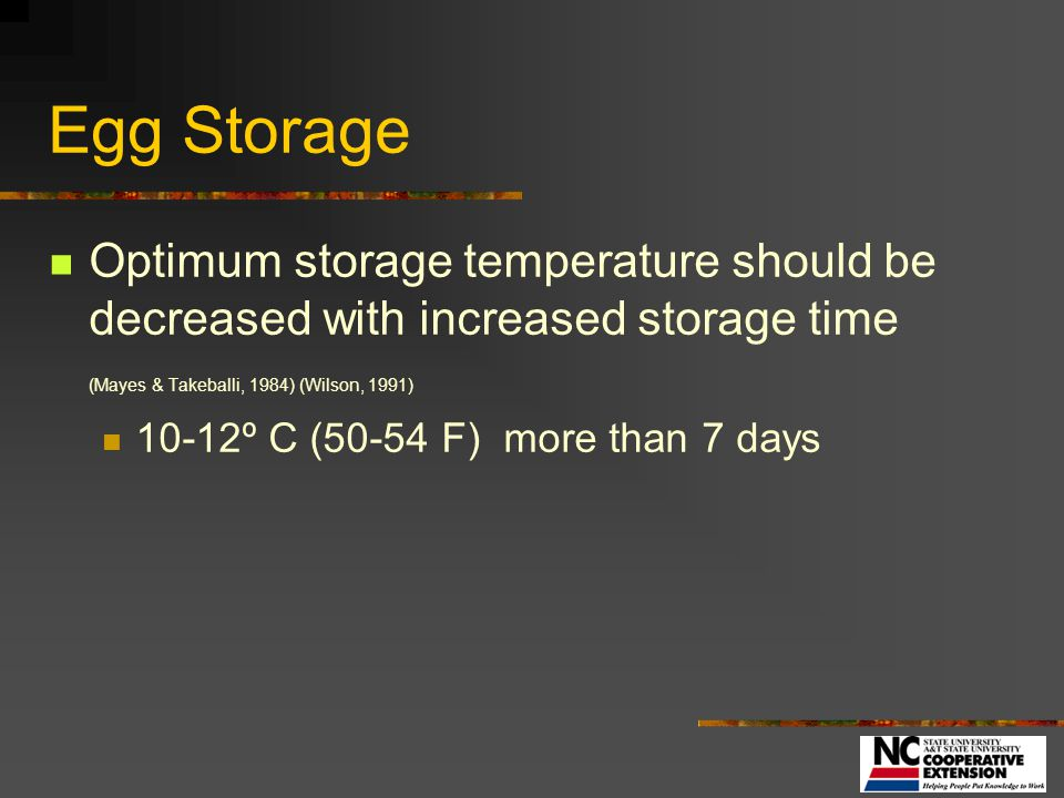 Egg Storage Optimum storage temperature should be decreased with increased storage time (Mayes & Takeballi, 1984) (Wilson, 1991)