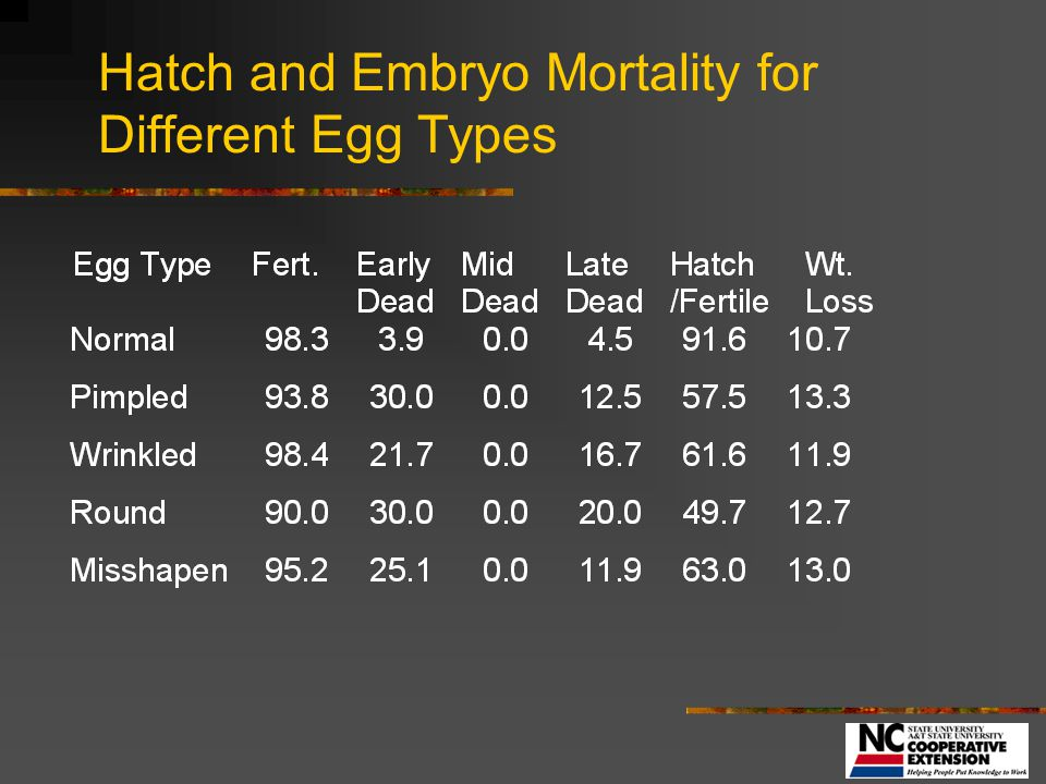 Hatch and Embryo Mortality for Different Egg Types