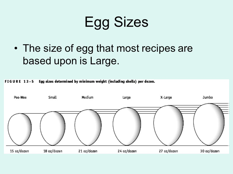 Egg Sizes The size of egg that most recipes are based upon is Large.