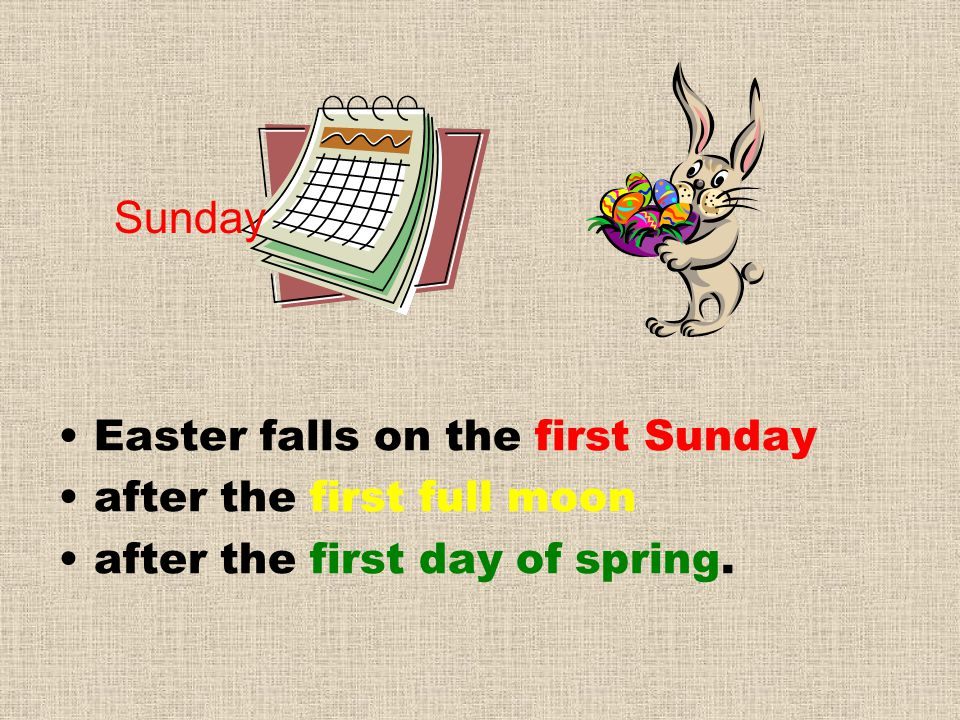 Sunday Easter falls on the first Sunday after the first full moon