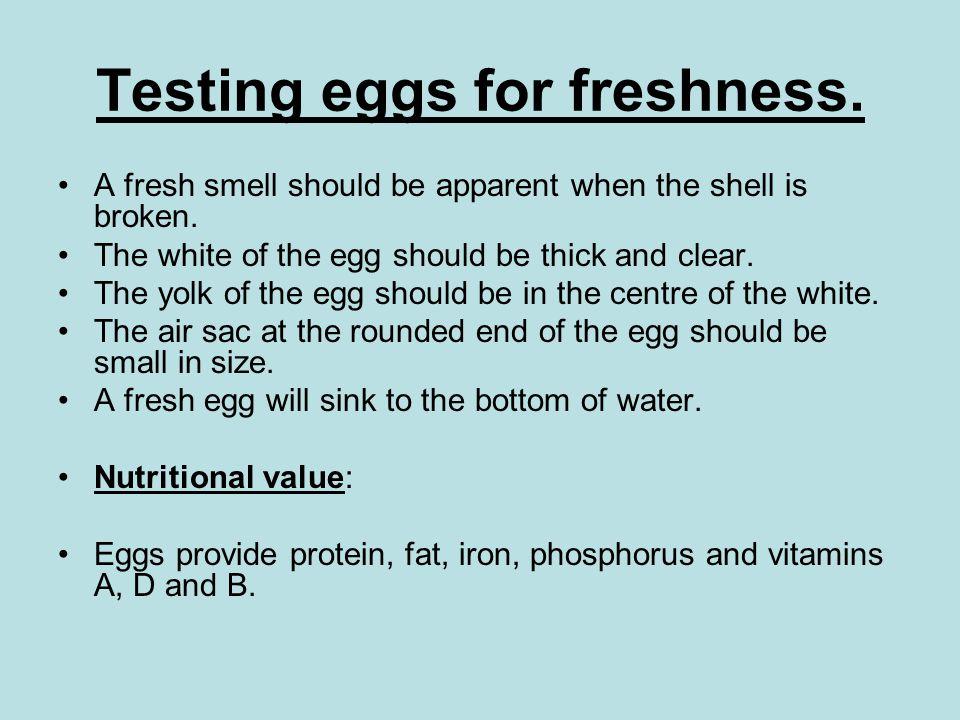Testing eggs for freshness.