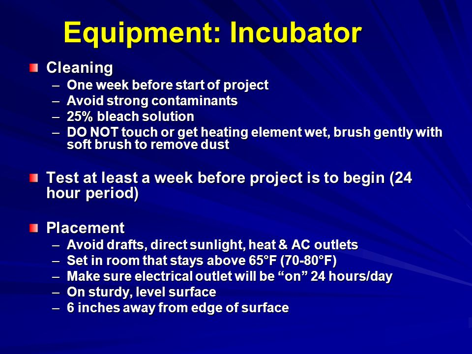 Equipment: Incubator Cleaning