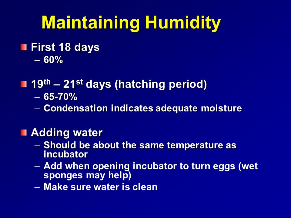 Maintaining Humidity First 18 days 19th – 21st days (hatching period)