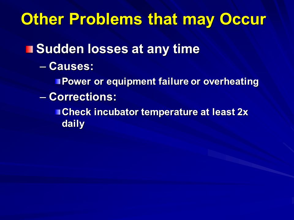 Other Problems that may Occur