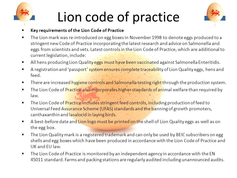 Lion code of practice Key requirements of the Lion Code of Practice