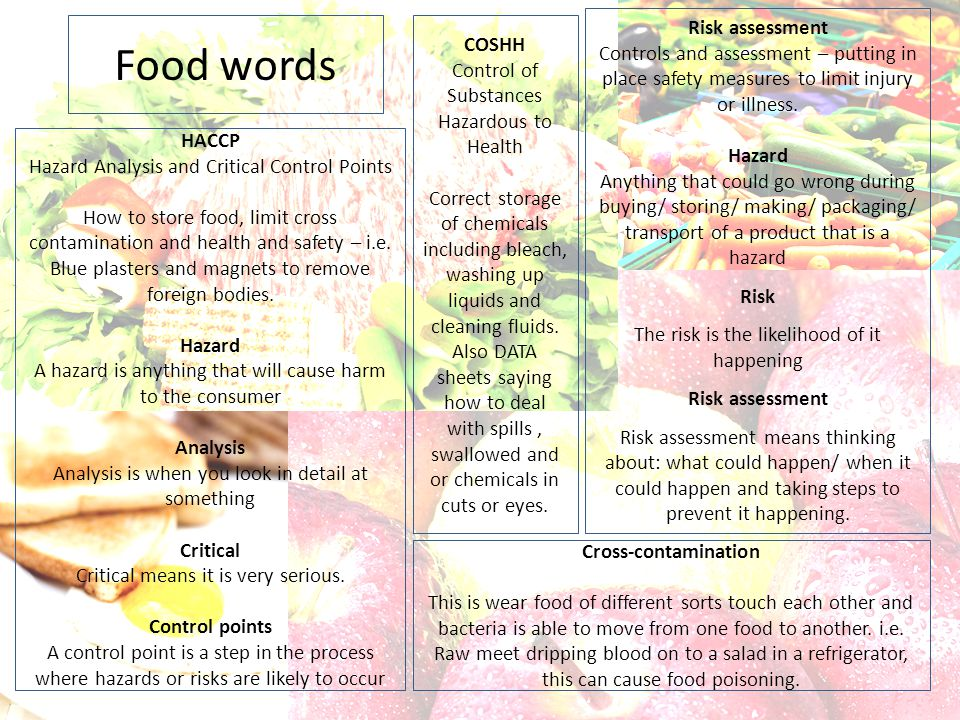 Food words Risk assessment COSHH
