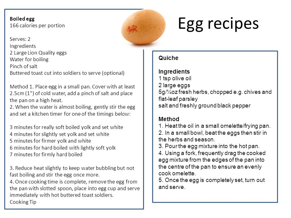 Egg recipes Boiled egg 166 calories per portion Serves: 2