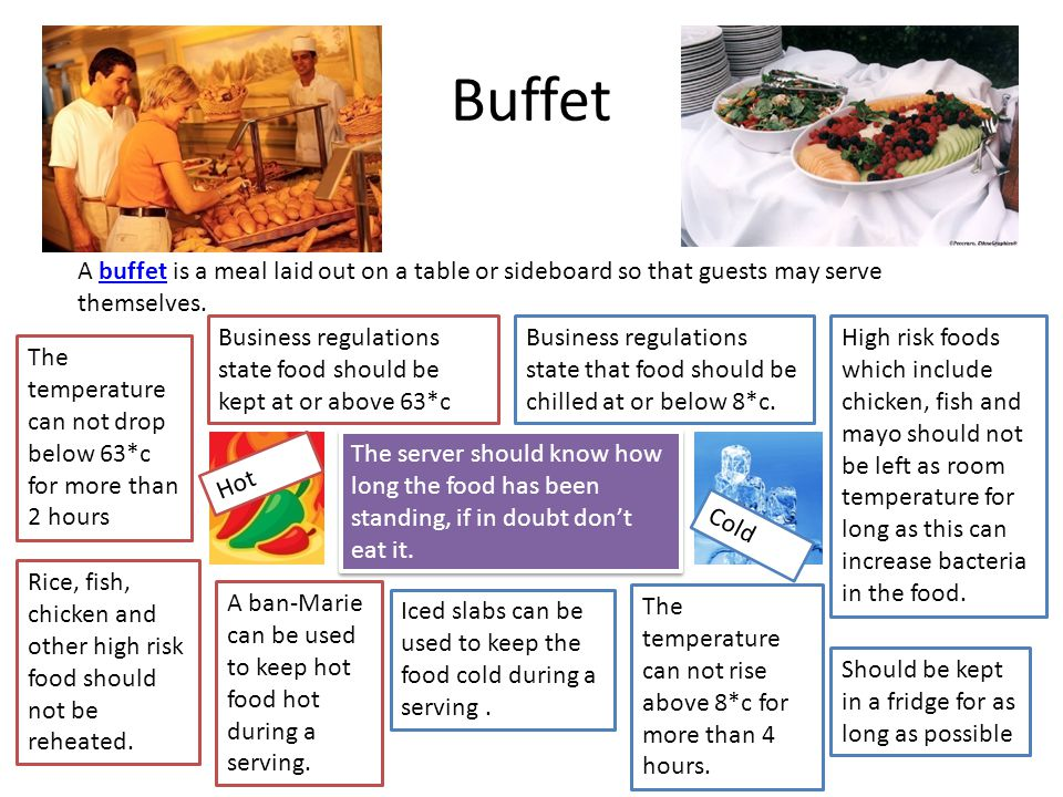 Buffet A buffet is a meal laid out on a table or sideboard so that guests may serve themselves.