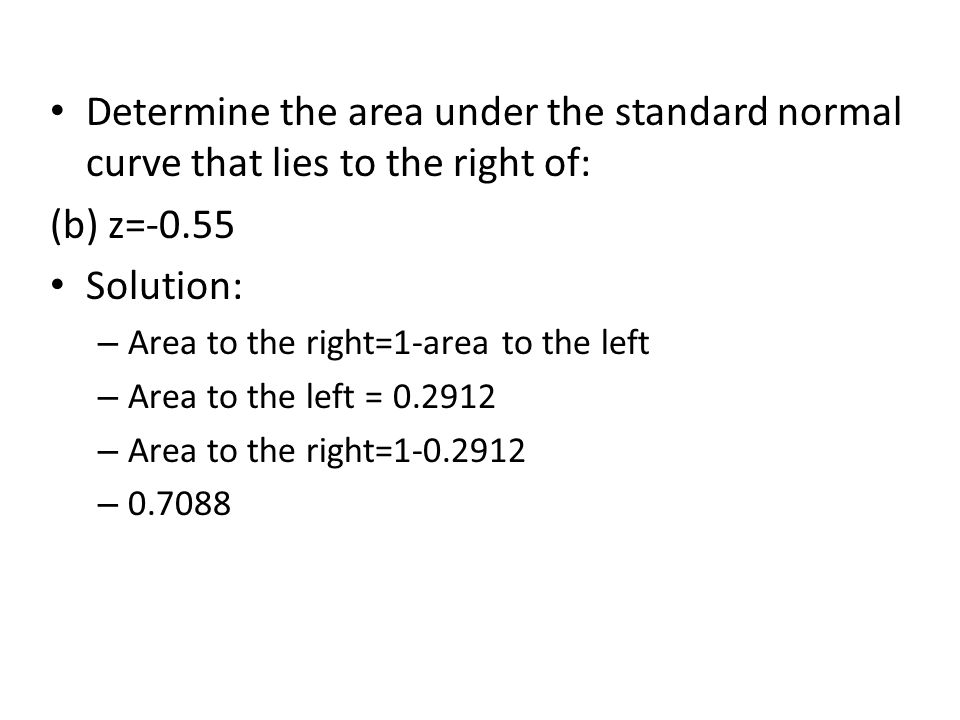 Determine the area under the standard normal curve that lies to the right of: