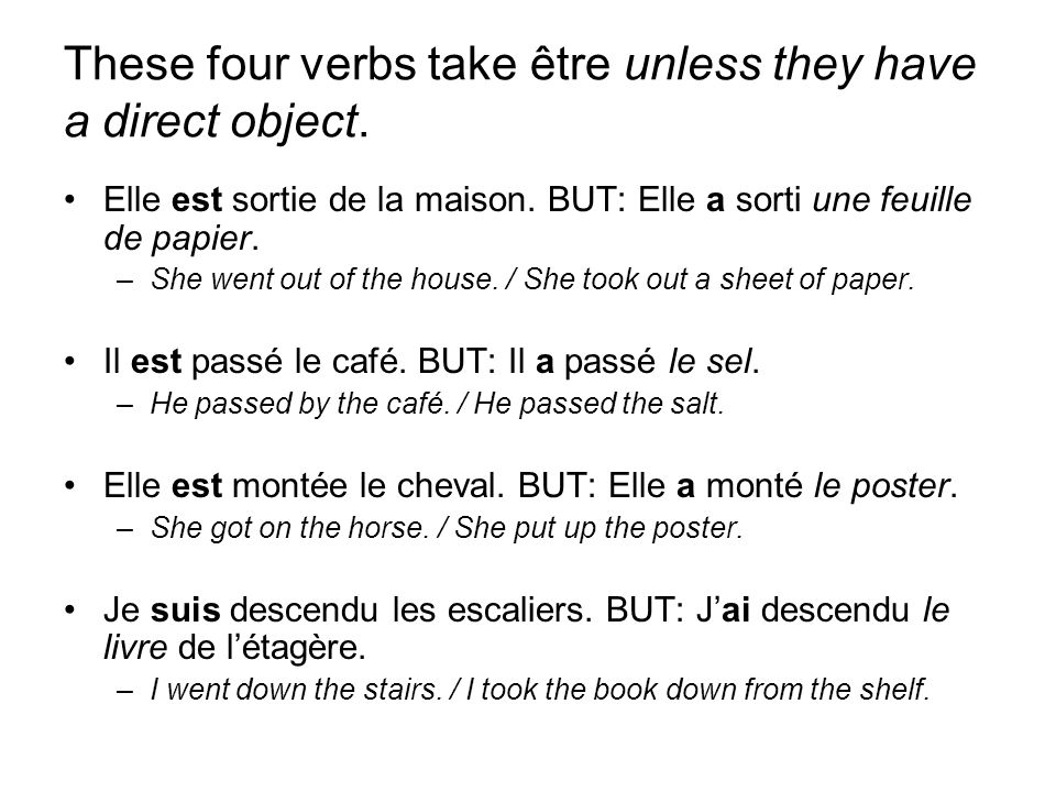 These four verbs take être unless they have a direct object.