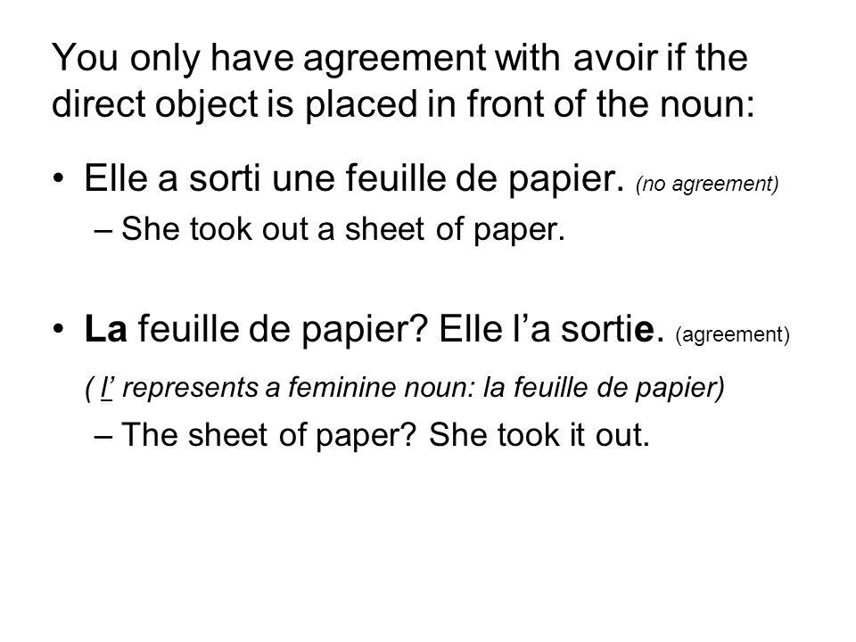 Elle a sorti une feuille de papier. (no agreement)