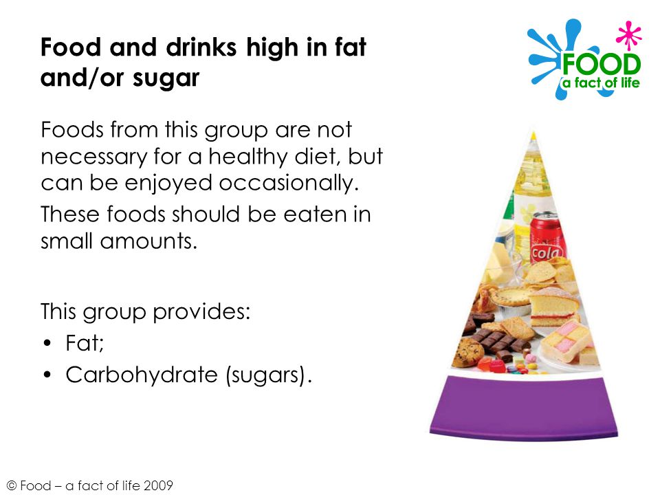 Food and drinks high in fat and/or sugar