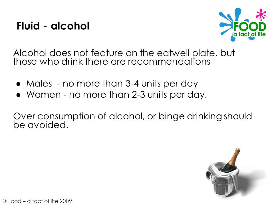 Fluid - alcohol Alcohol does not feature on the eatwell plate, but those who drink there are recommendations.