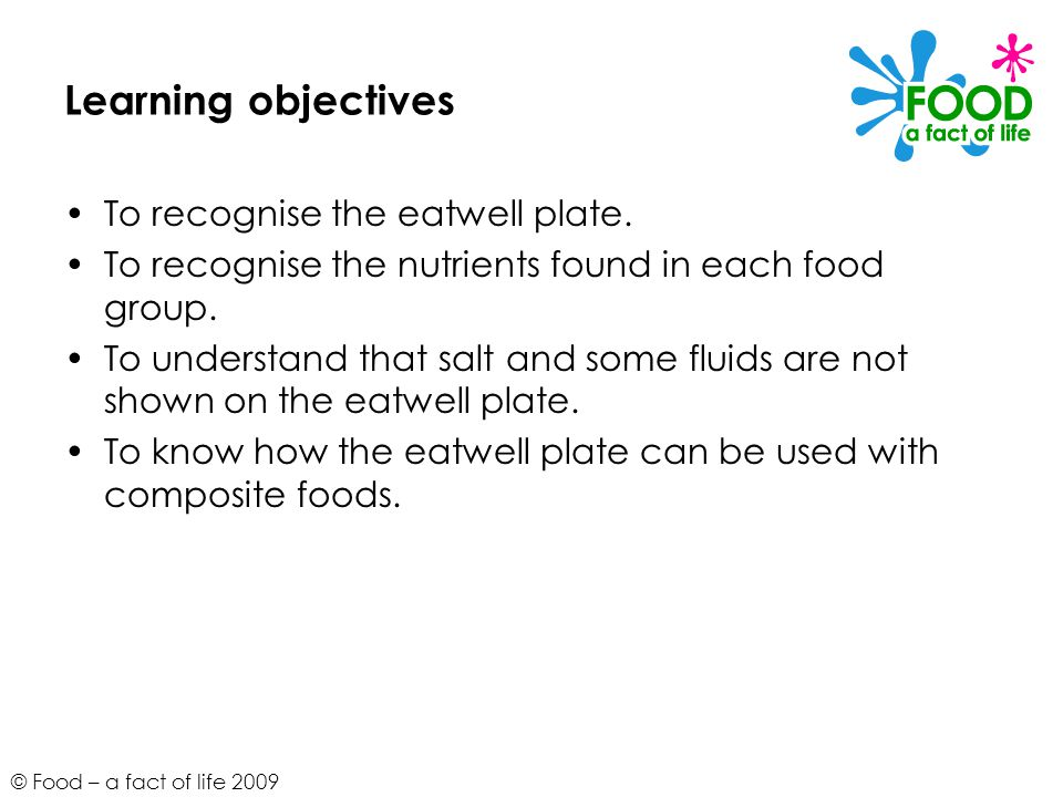 Learning objectives To recognise the eatwell plate.