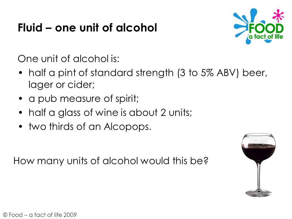 Fluid – one unit of alcohol