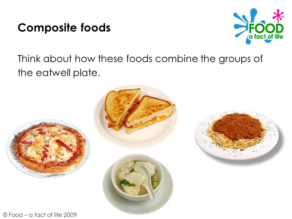 Composite foods Think about how these foods combine the groups of