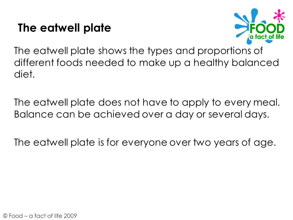 The eatwell plate The eatwell plate shows the types and proportions of different foods needed to make up a healthy balanced diet.