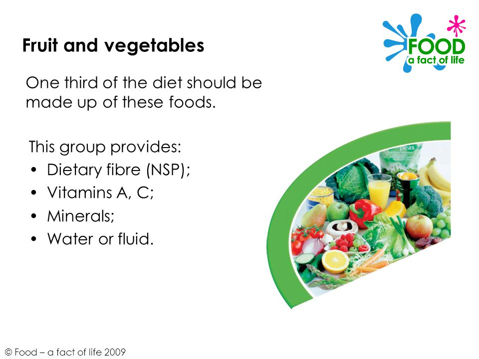 Fruit and vegetables One third of the diet should be made up of these foods. This group provides: Dietary fibre (NSP);