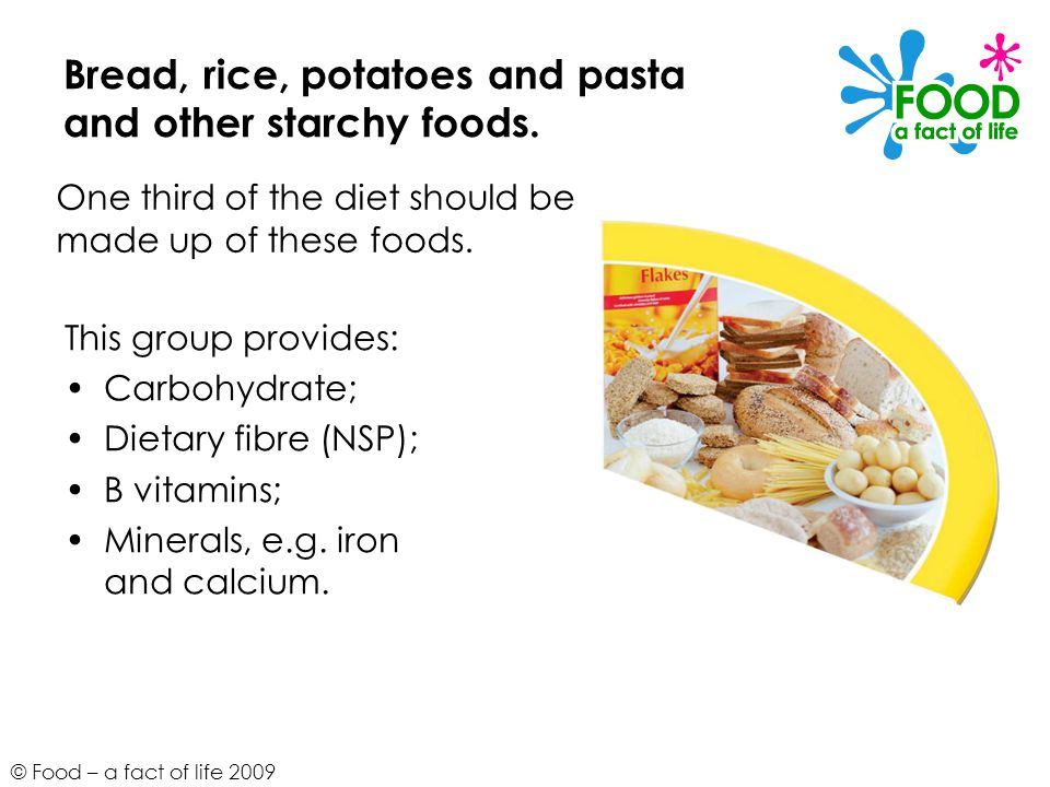 Bread, rice, potatoes and pasta and other starchy foods.