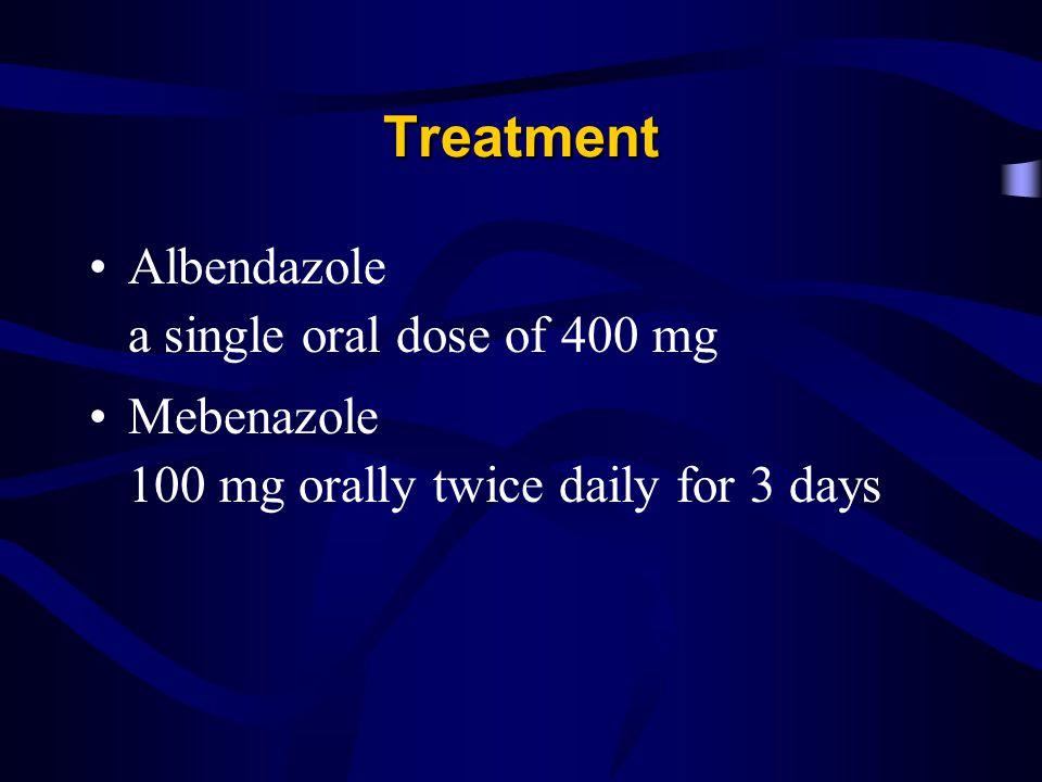 Treatment Albendazole a single oral dose of 400 mg