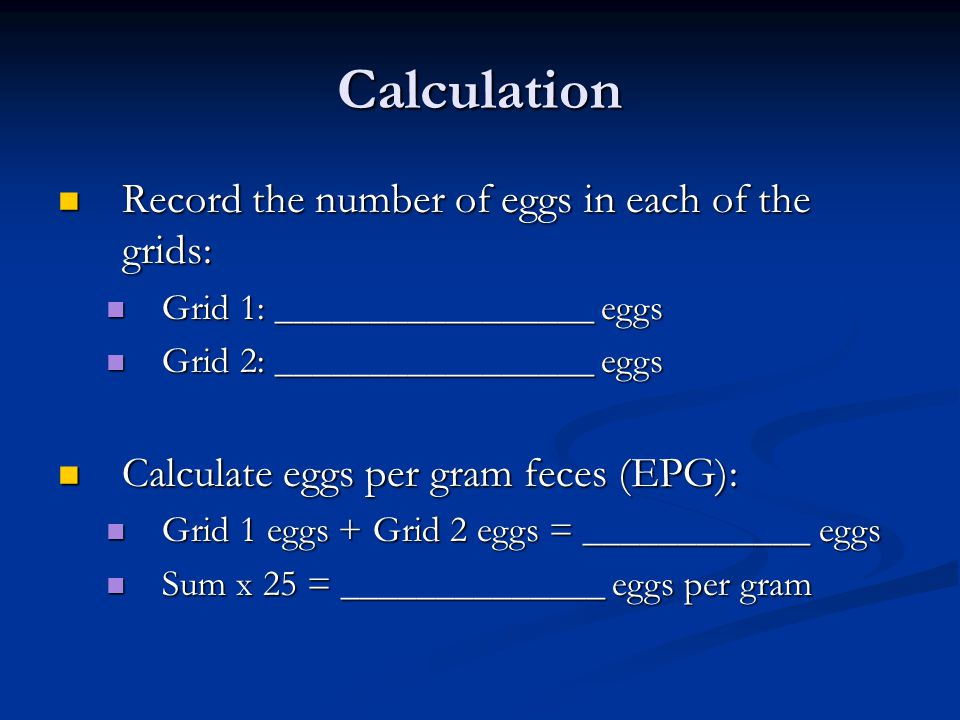 Calculation Record the number of eggs in each of the grids: